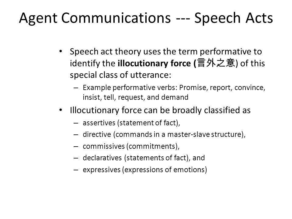 Agent Communications --- Speech Acts