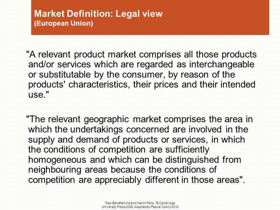 Market Definition: Legal view (European Union)