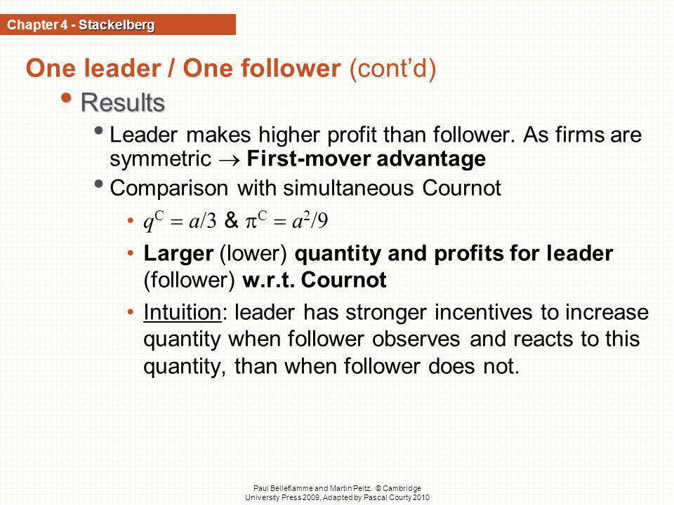 One leader / One follower (cont'd) Results