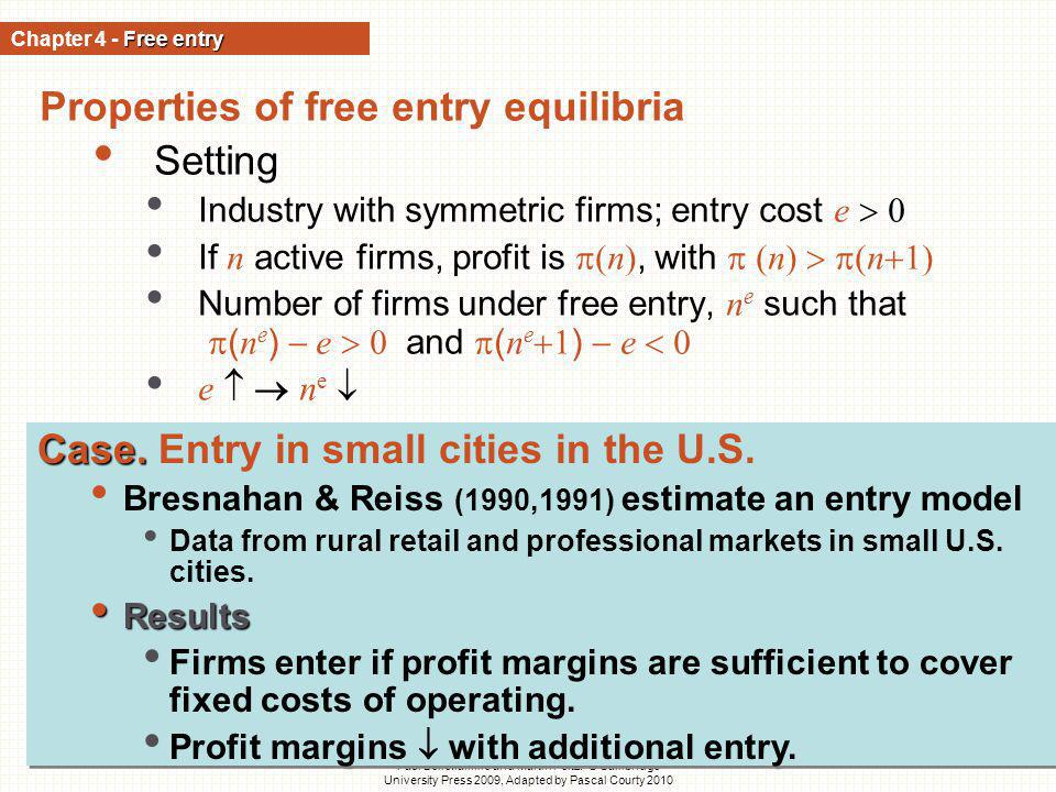 Properties of free entry equilibria Setting