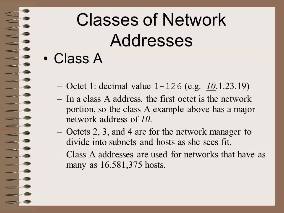 Classes of Network Addresses