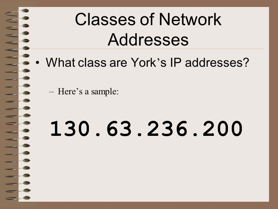 Classes of Network Addresses