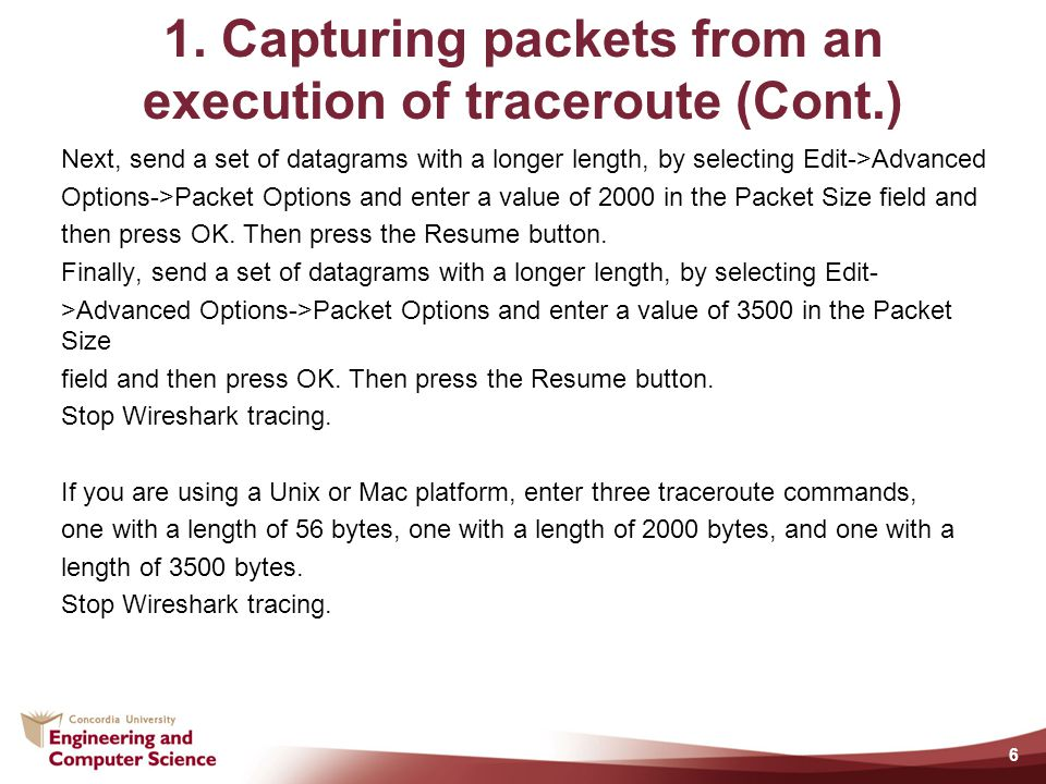 1. Capturing packets from an execution of traceroute (Cont.)
