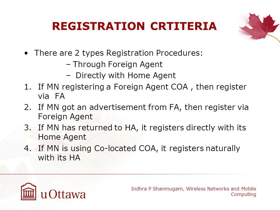 REGISTRATION CRTITERIA