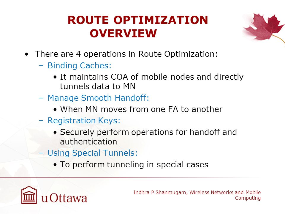 ROUTE OPTIMIZATION OVERVIEW