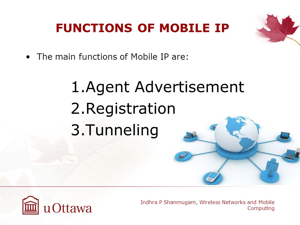 Agent Advertisement Registration Tunneling FUNCTIONS OF MOBILE IP