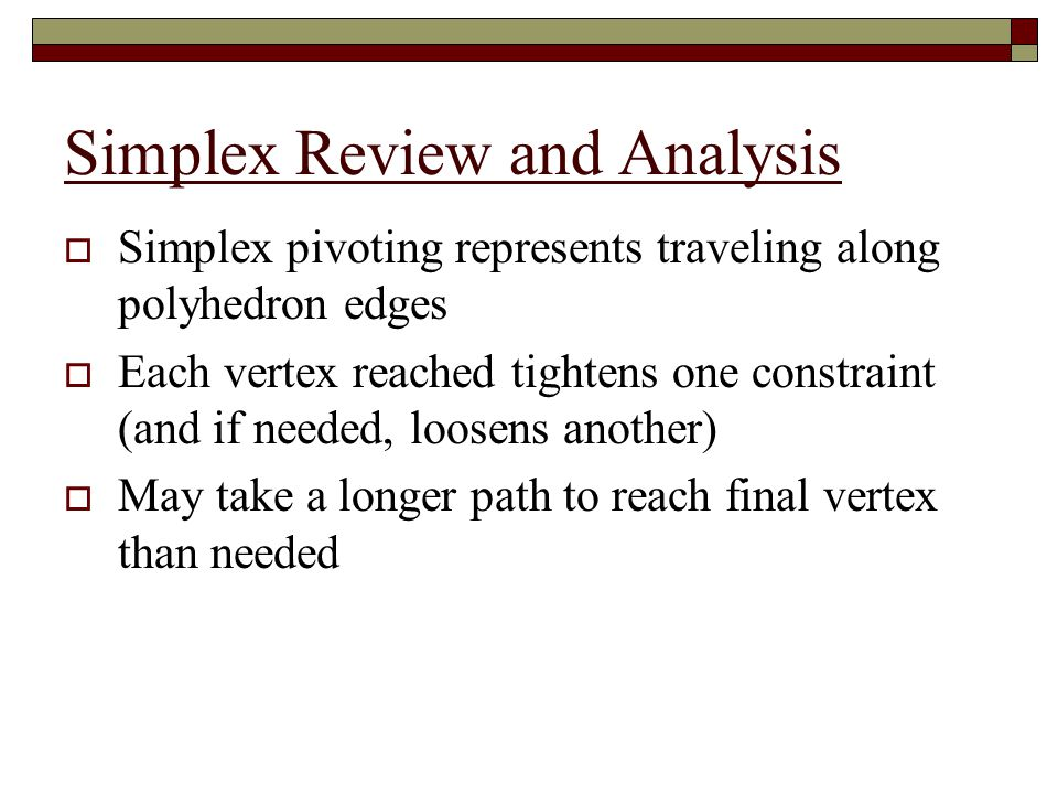 Simplex Review and Analysis