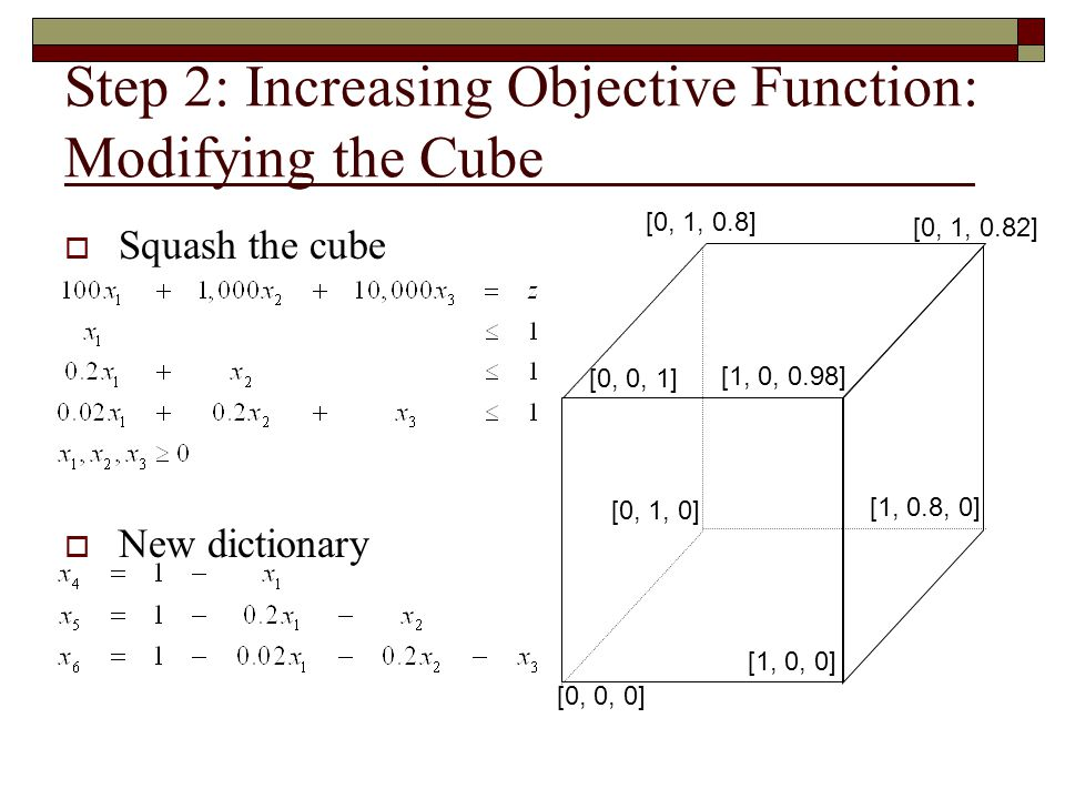 Step 2: Increasing Objective Function: Modifying the Cube