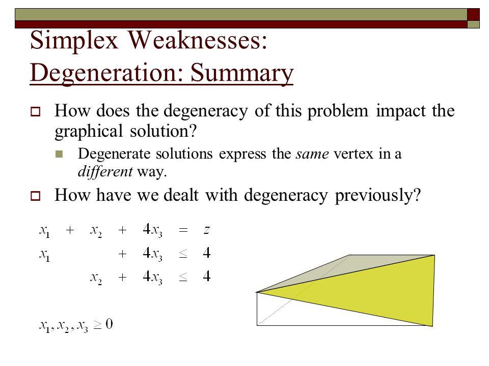Simplex Weaknesses: Degeneration: Summary