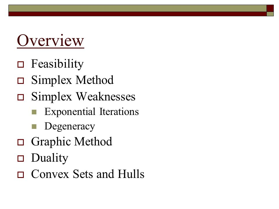 Overview Feasibility Simplex Method Simplex Weaknesses Graphic Method