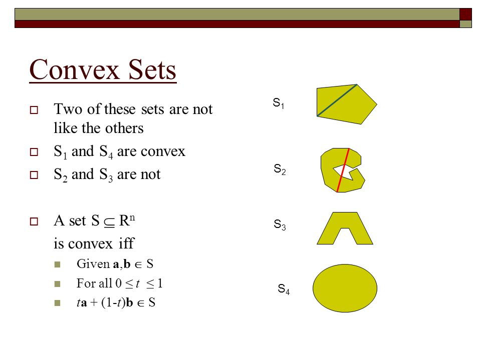 Convex Sets Two of these sets are not like the others