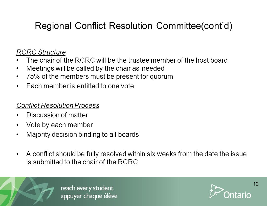 Regional Conflict Resolution Committee(cont'd)