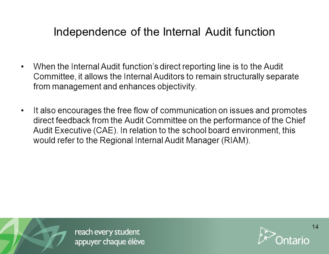 Independence of the Internal Audit function