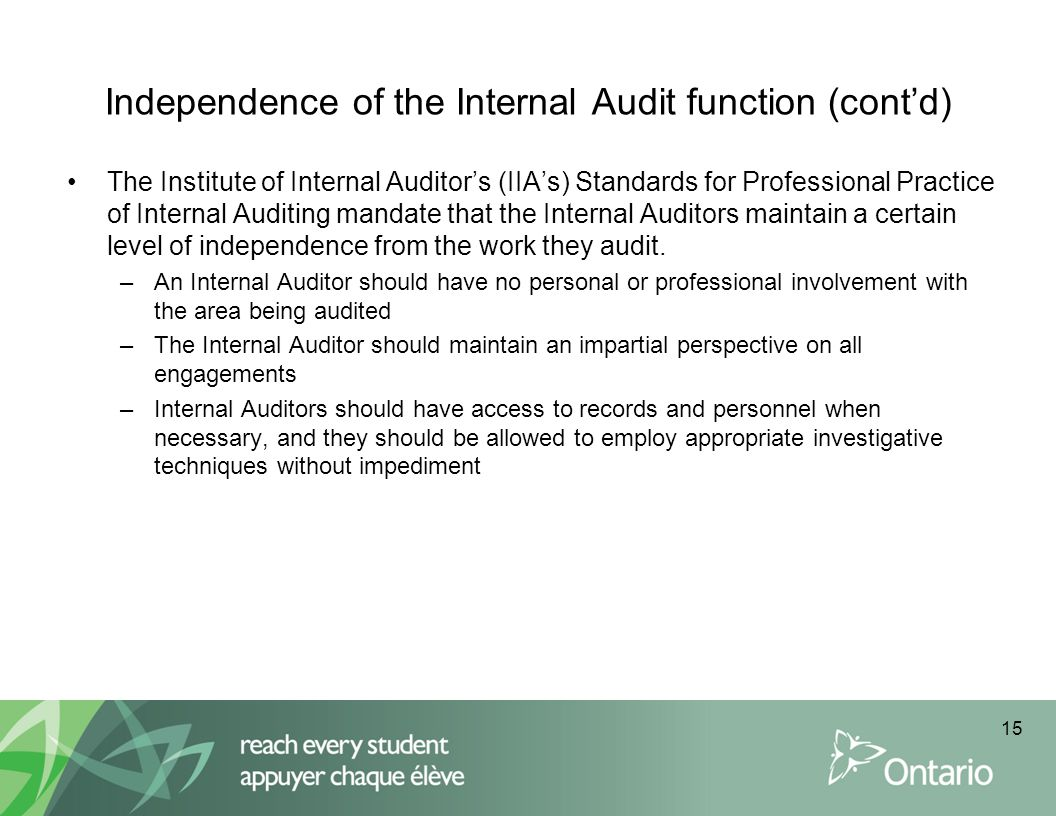 Independence of the Internal Audit function (cont'd)