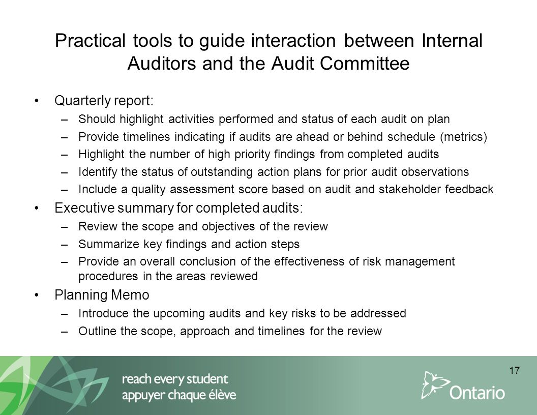 Practical tools to guide interaction between Internal Auditors and the Audit Committee
