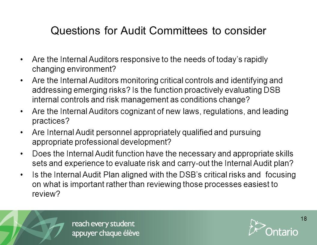 Questions for Audit Committees to consider