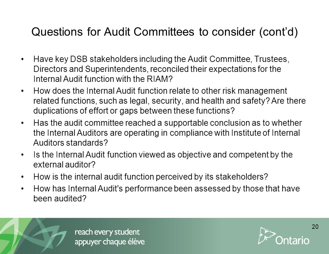 Questions for Audit Committees to consider (cont'd)