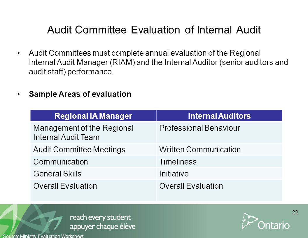 Audit Committee Evaluation of Internal Audit