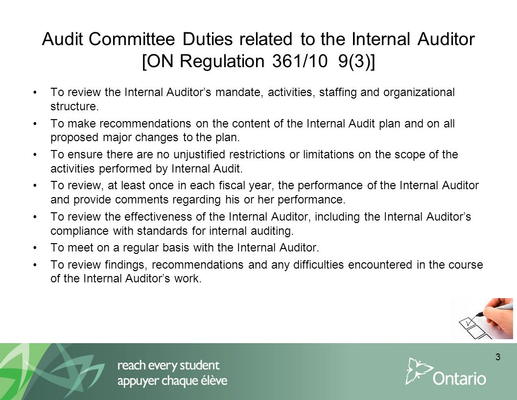 Audit Committee Duties related to the Internal Auditor [ON Regulation 361/10 9(3)]