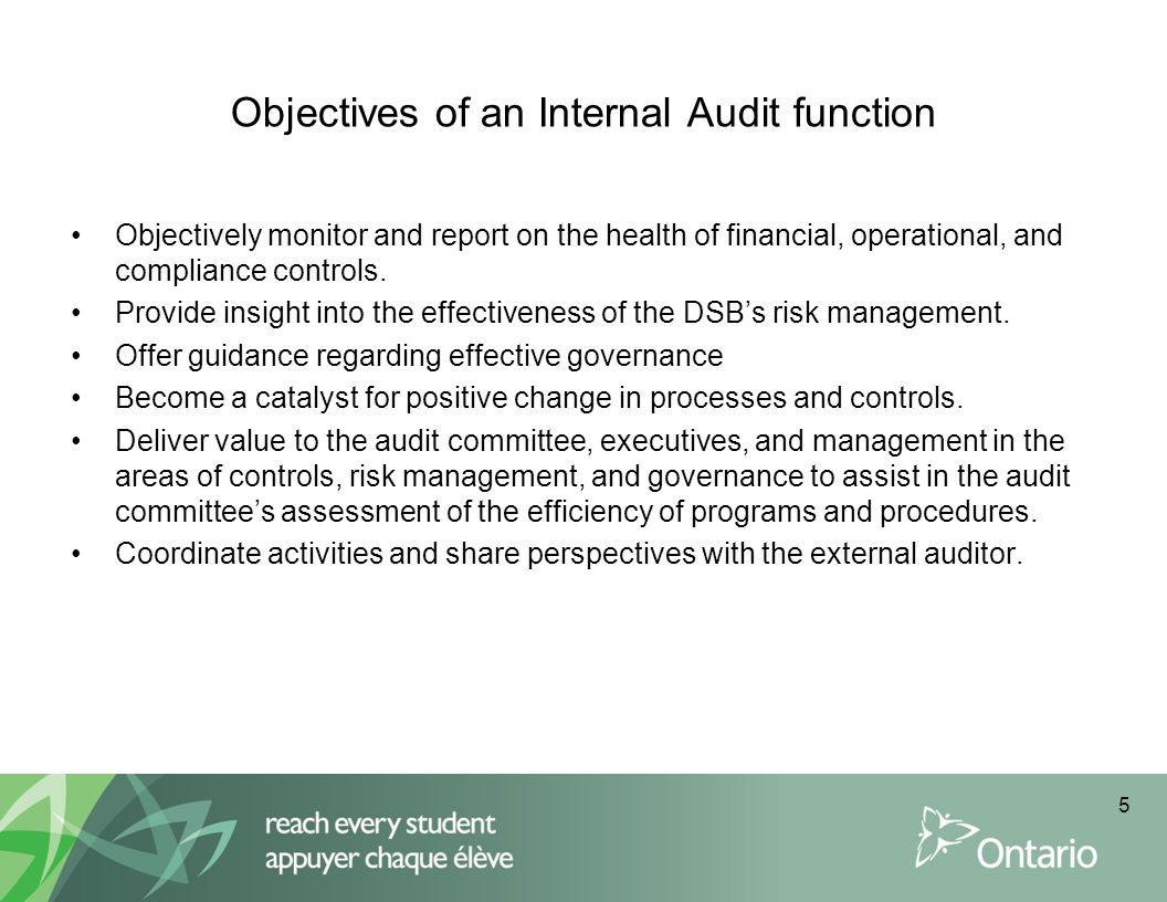 Objectives of an Internal Audit function