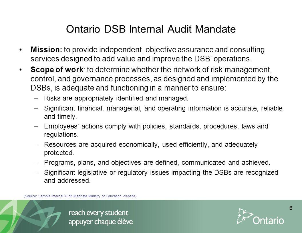 Ontario DSB Internal Audit Mandate