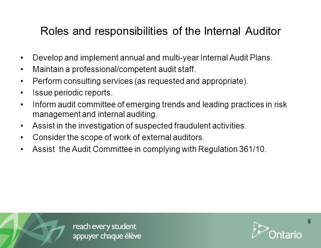 Roles and responsibilities of the Internal Auditor