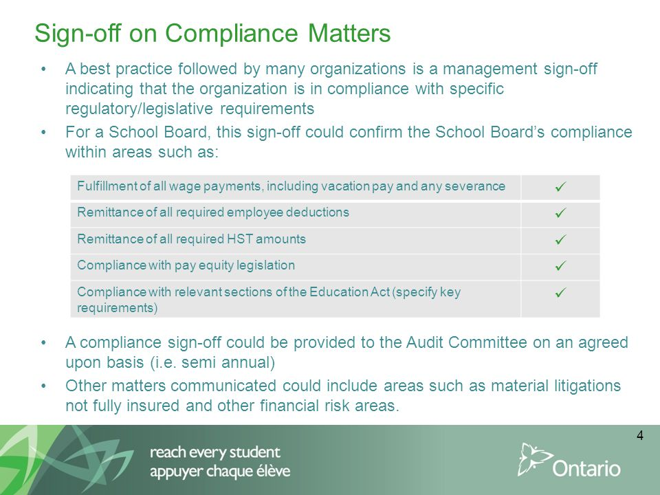 Sign-off on Compliance Matters