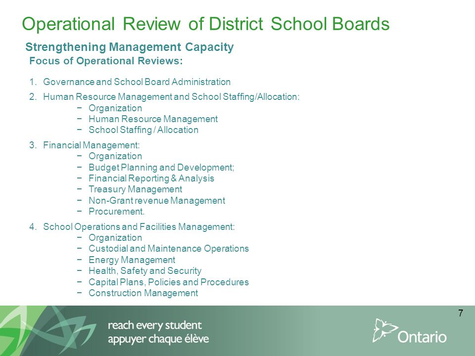 Operational Review of District School Boards