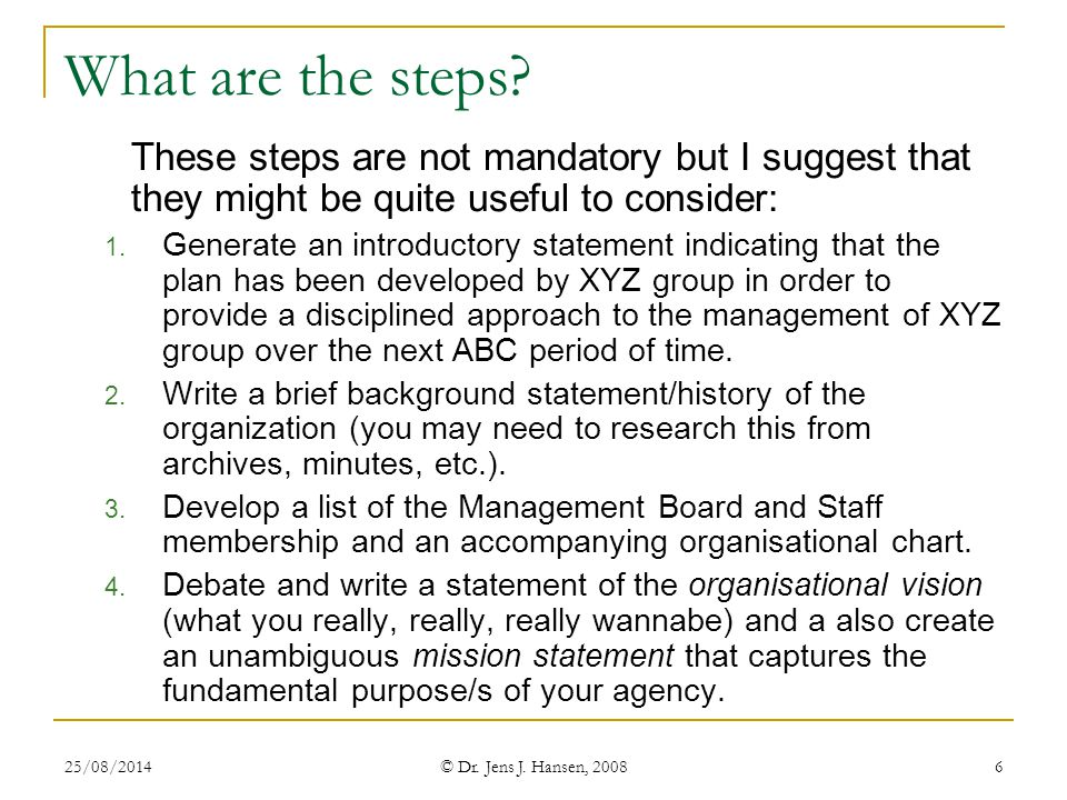 What are the steps These steps are not mandatory but I suggest that they might be quite useful to consider: