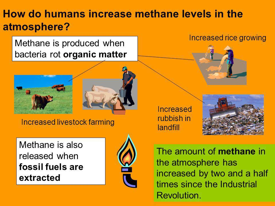 How do humans increase methane levels in the atmosphere