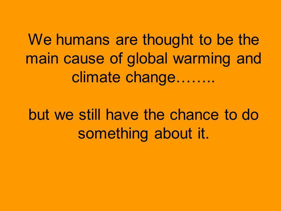 We humans are thought to be the main cause of global warming and climate change……..