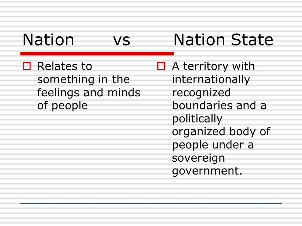Nation vs Nation State Relates to something in the feelings and minds of people.