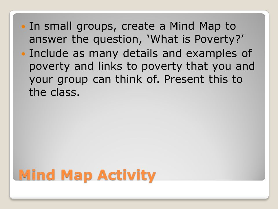 In small groups, create a Mind Map to answer the question, 'What is Poverty '