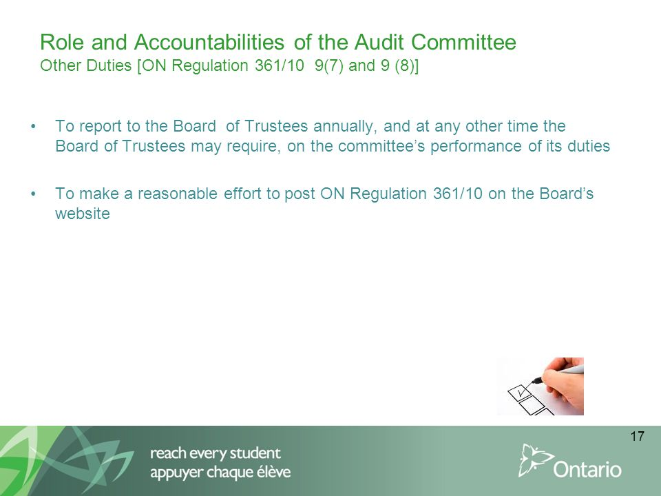 Role and Accountabilities of the Audit Committee Other Duties [ON Regulation 361/10 9(7) and 9 (8)]