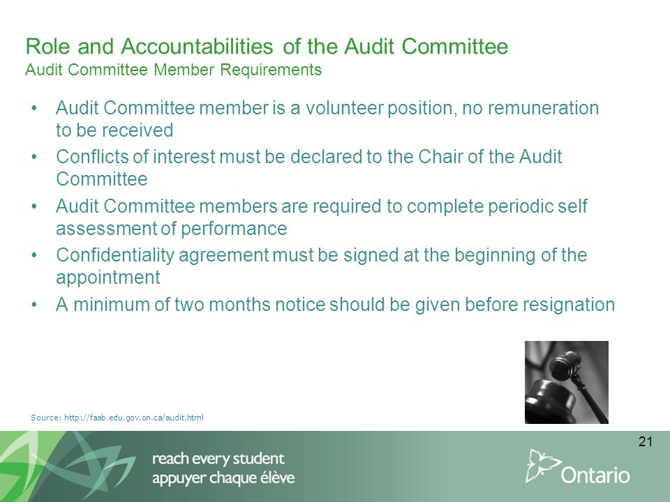 Role and Accountabilities of the Audit Committee Audit Committee Member Requirements