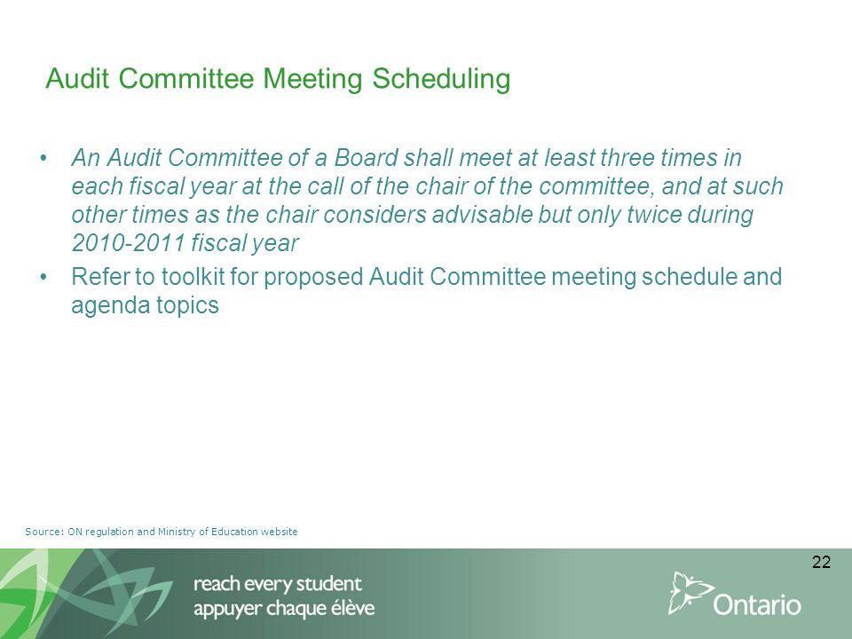 Audit Committee Meeting Scheduling