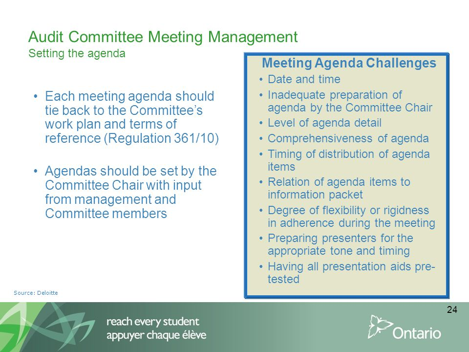 Audit Committee Meeting Management Setting the agenda