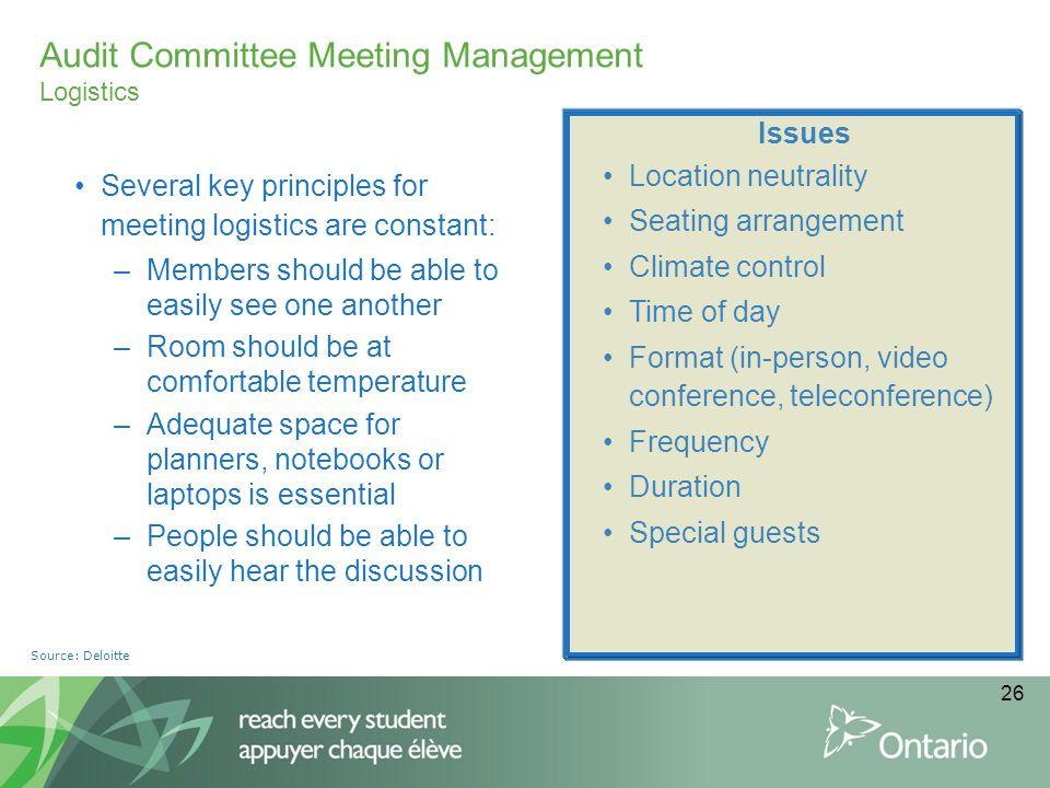 Audit Committee Meeting Management Logistics
