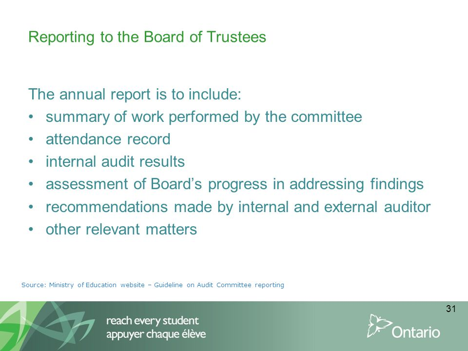 Reporting to the Board of Trustees
