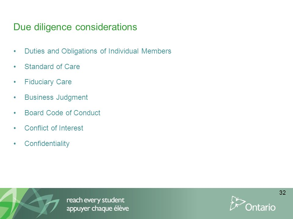 Due diligence considerations