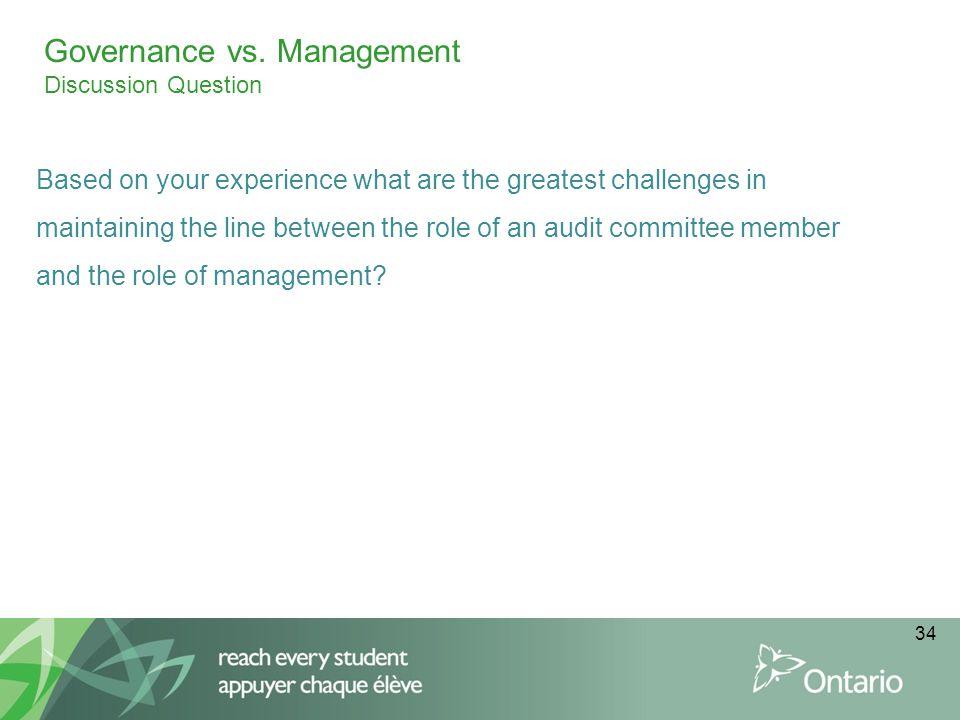 Governance vs. Management Discussion Question