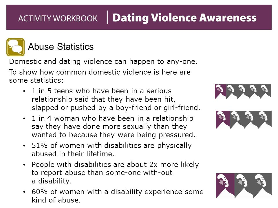 Abuse Statistics Domestic and dating violence can happen to any-one.