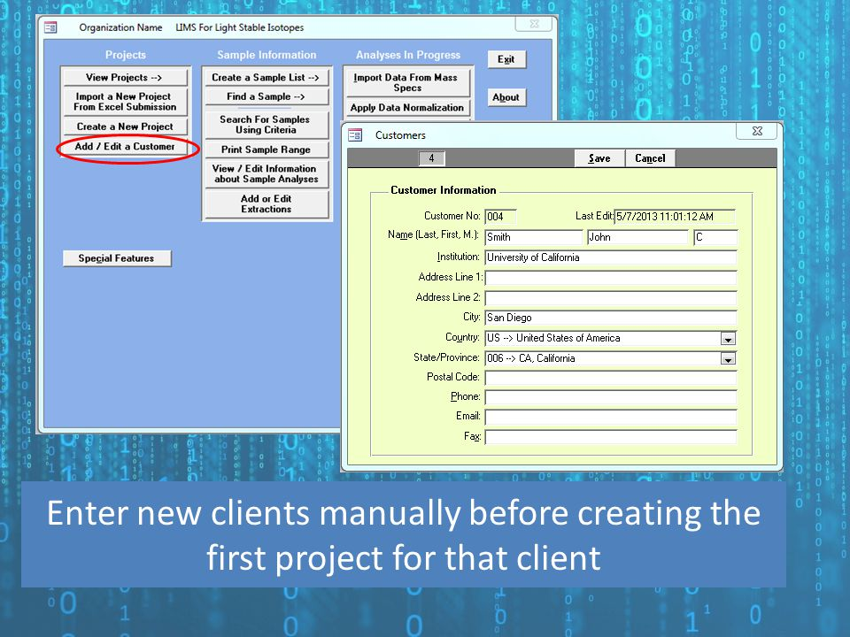 Enter new clients manually before creating the first project for that client