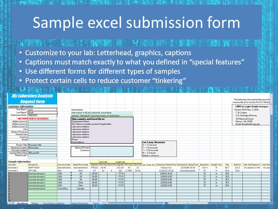 Sample excel submission form