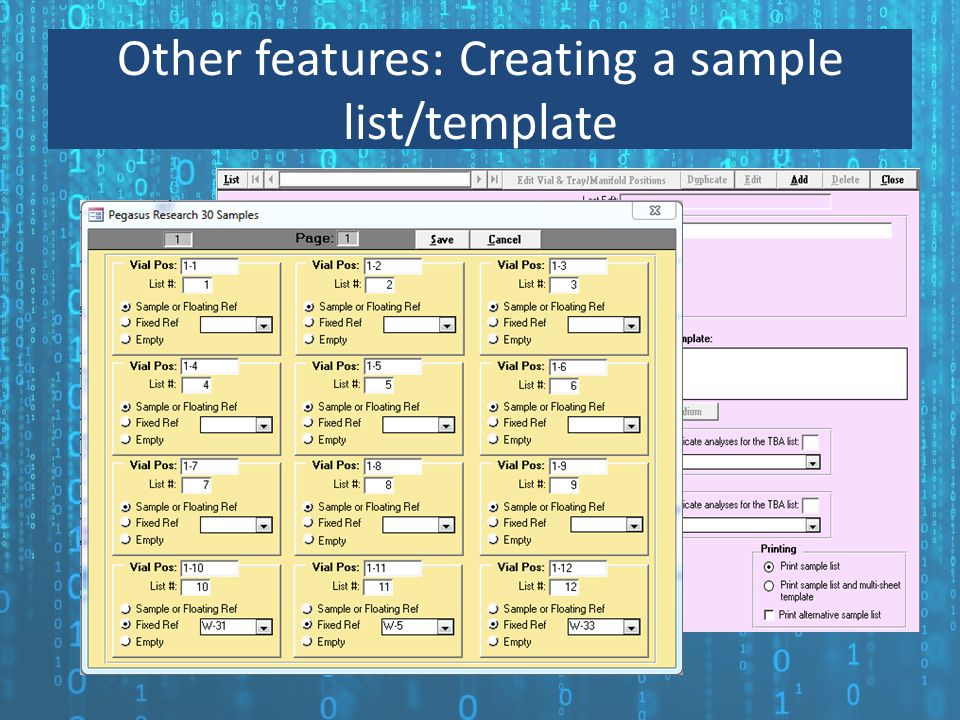 Other features: Creating a sample list/template