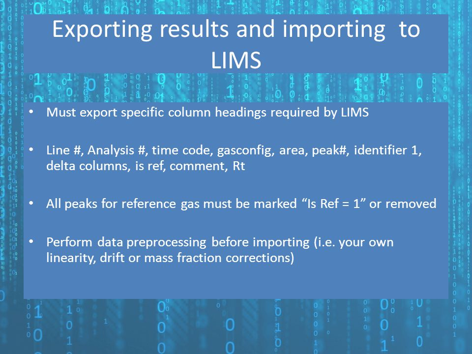 Exporting results and importing to LIMS