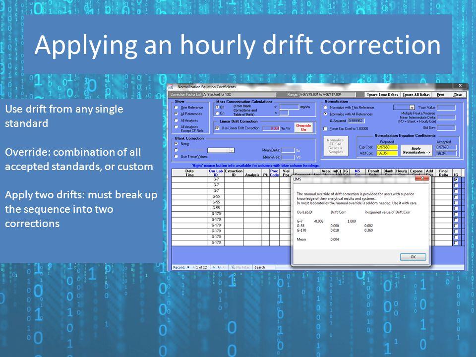 Applying an hourly drift correction