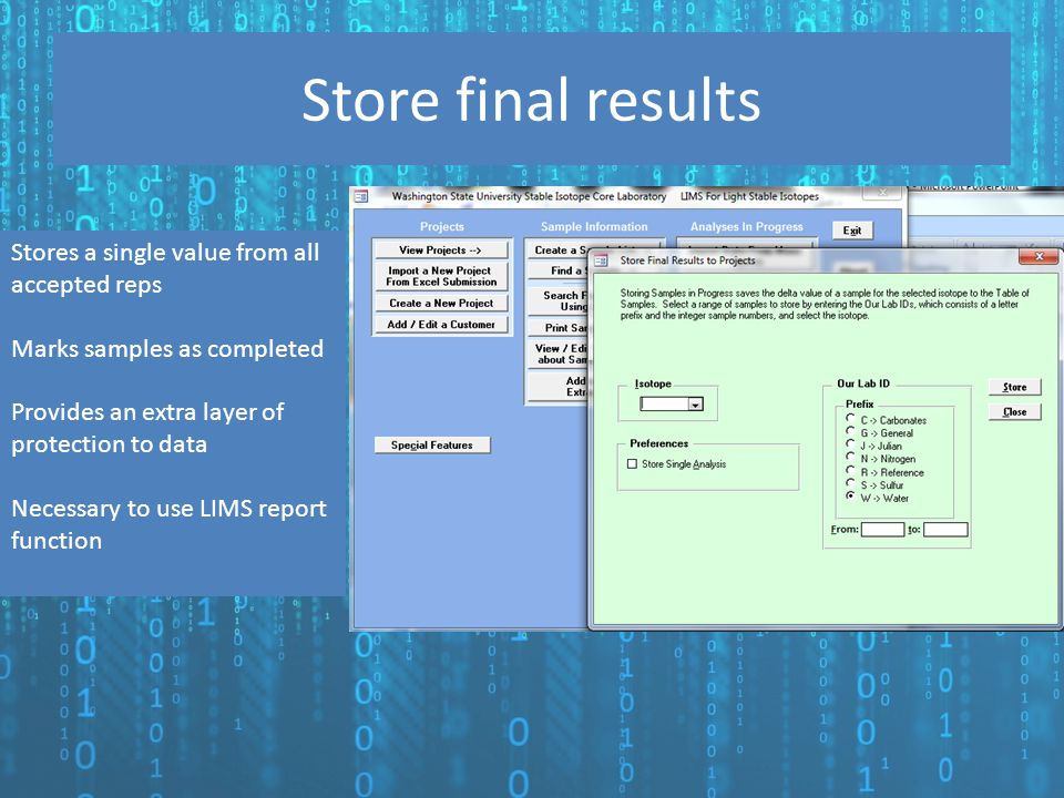 Store final results Stores a single value from all accepted reps