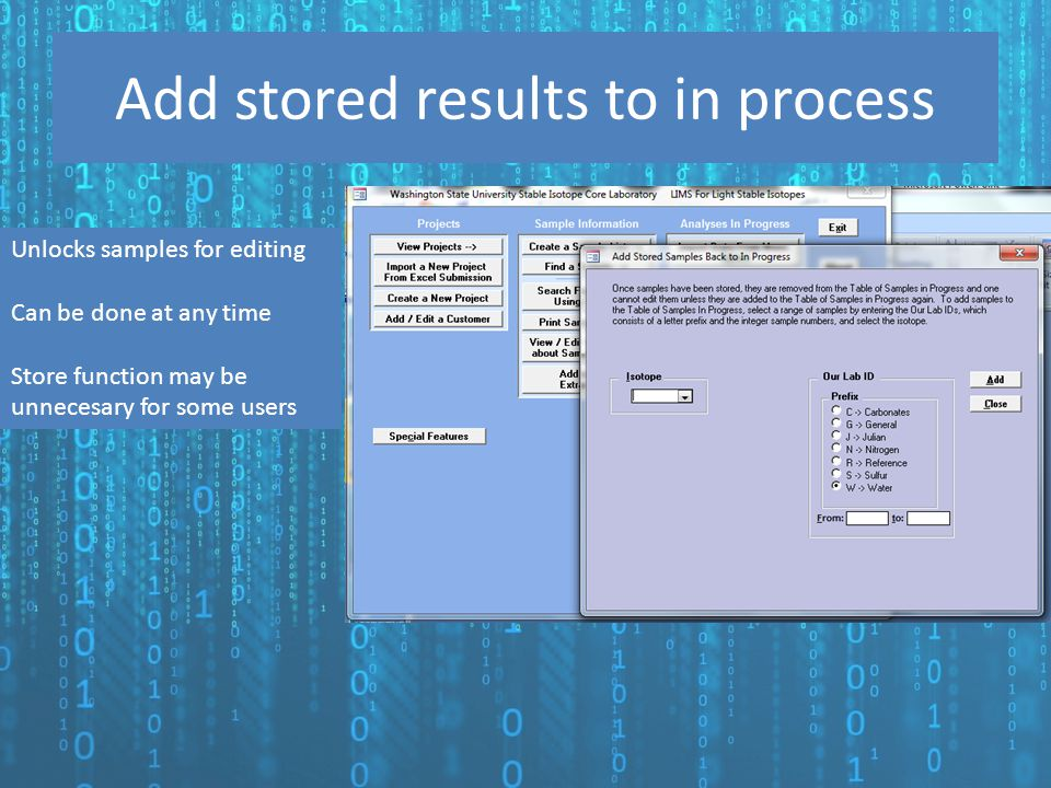 Add stored results to in process