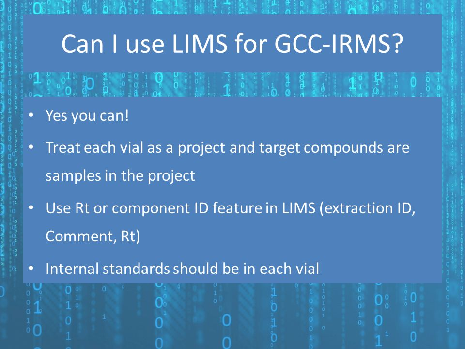 Can I use LIMS for GCC-IRMS